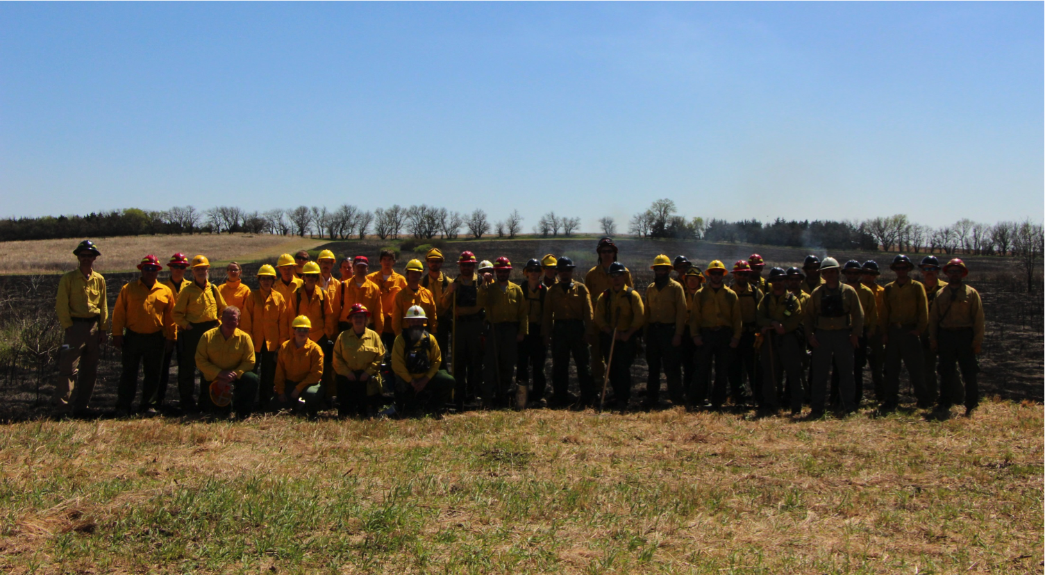 NIMBUS Lab, partners, and fire team after first ever prescribed fire ignition on public land by a UAS.